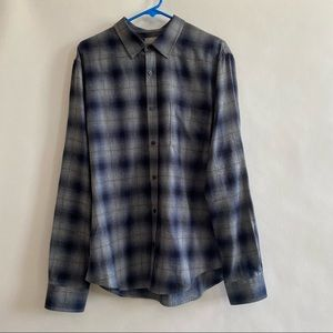 Men's Vince plaid shirt blue and grey size large